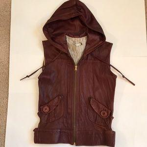 Mike & Chris leather hoodie vest